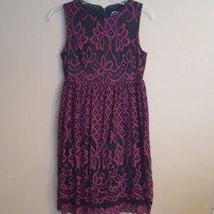 Dresses & Skirts - Dark Pink/Black lace dress Womens Small
